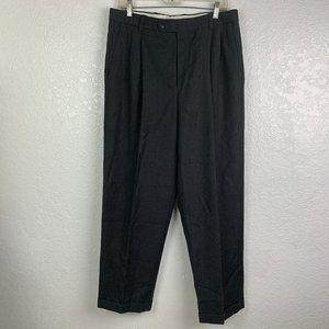 L.L. Bean Mens Wool Charcoal Gray Pleated Pants